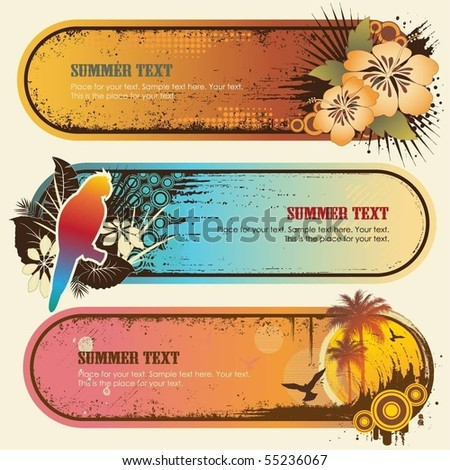 Tropical Banners - stock vector