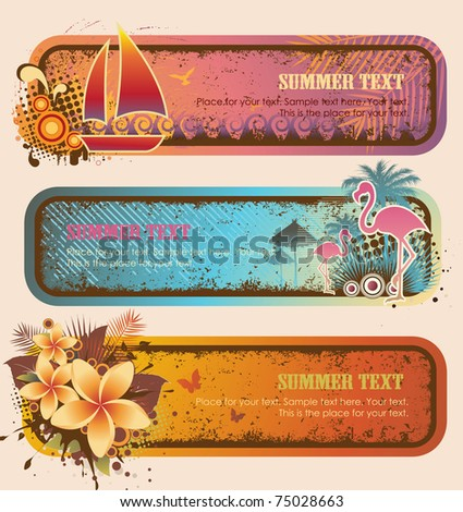 Tropical Banners Set - stock vector