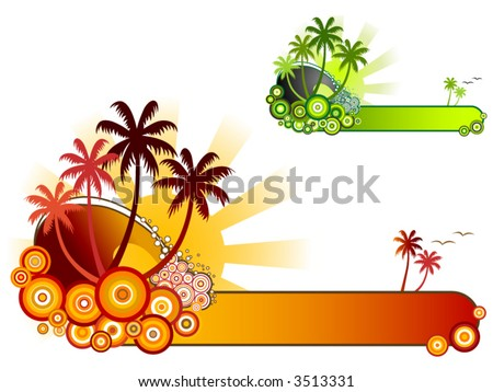 Tropical Beach Banner-Retro style vector of sea surf, palm trees and sunshine in two colour themes - stock vector