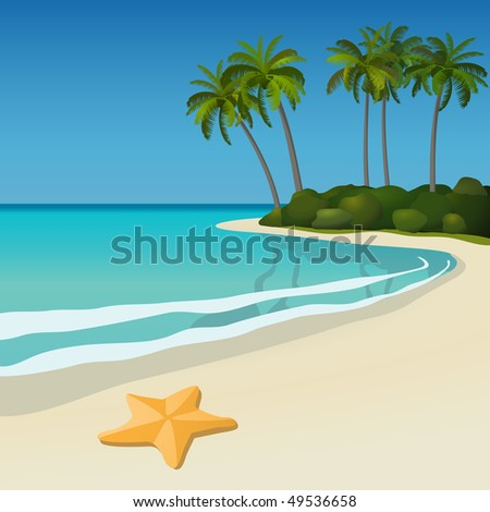Tropical beach Illustration of a white sand tropical beach with palm trees and a starfish. All objects are grouped and easy to edit or separate. - stock vector