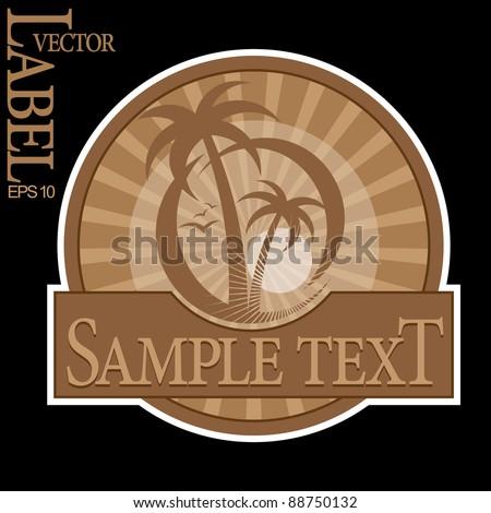 Tropical Beach Label - stock vector