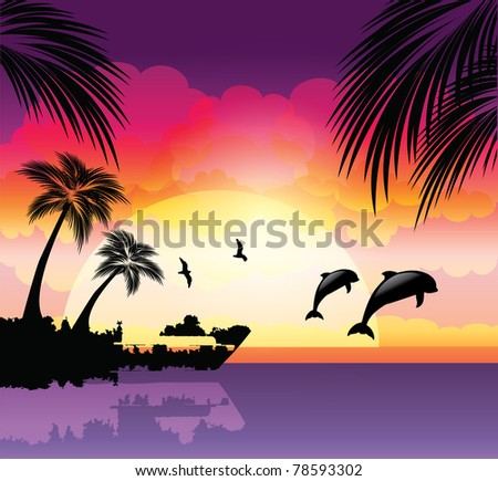 Tropical beach sunset