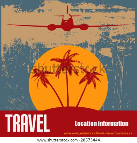 Tropical Beach Travel Flyer - stock vector