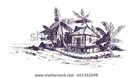 Tropical Beach With Palm Trees And Bungalow Hand Drawn Sketch Vector Illustration
