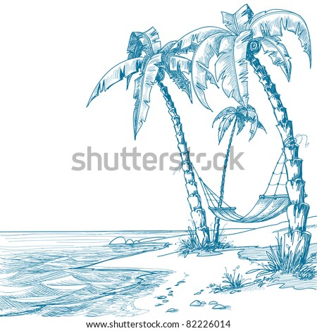 Tropical beach with palm trees and hammock - stock vector