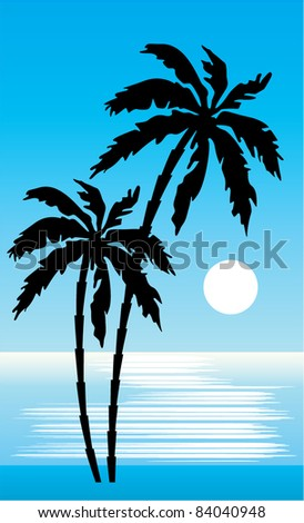 Tropical beach with palm trees. vector, gradient, color full, no mesh