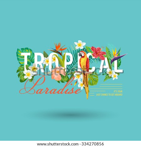 Tropical Bird and Flowers Graphic Design - for t-shirt, fashion, prints - in vector - stock vector