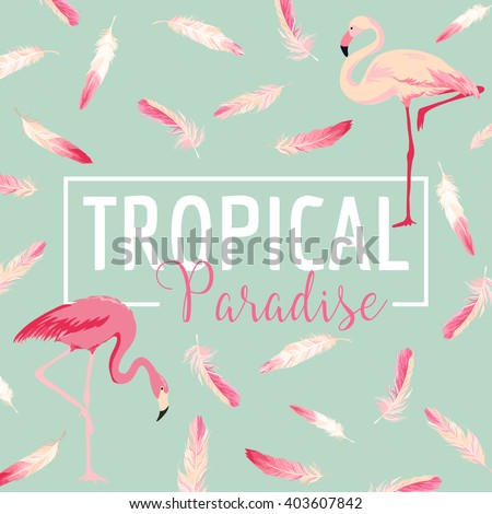 Tropical Bird. Flamingo Background. Summer Design. Vector. T-shirt Fashion Graphic. - stock vector
