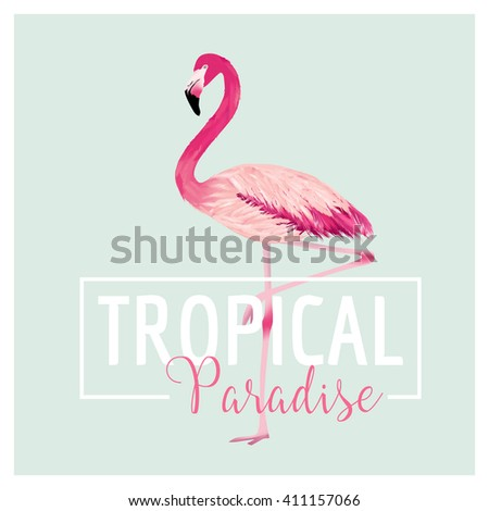 Tropical Bird. Flamingo Background. Summer Design. Vector. T-shirt Fashion Graphic. Exotic Background. - stock vector