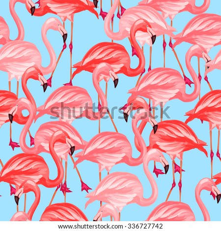 Tropical birds seamless pattern with pink flamingos. - stock vector