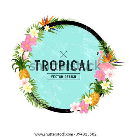 Tropical Border Design. tropical hand drawn elements including bird of paradise flower, Toucan bird and tropical floral elements. - stock vector