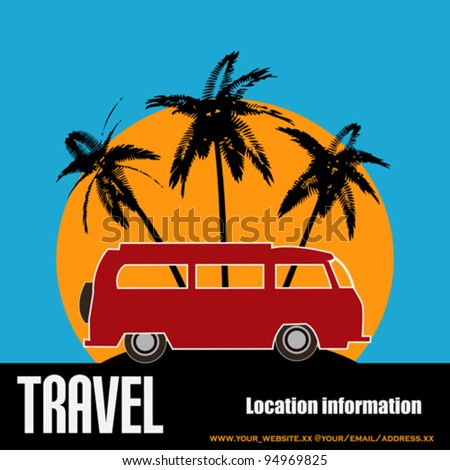 Tropical Camper Van, vector background - stock vector