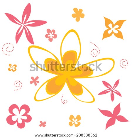 Tropical cartoon flower clip art set in pink and orange colors with dashed swirl graphics design element set - stock vector