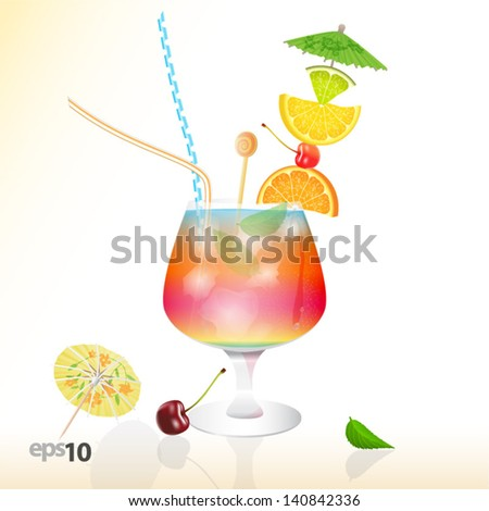 Tropical cocktail in glass with ice and umbrella