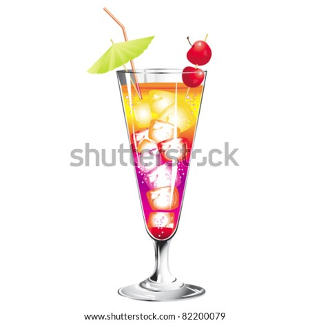 Tropical  cocktail isolated on white - stock vector