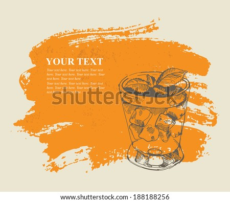 Tropical cocktail on orange grunge background - stock vector