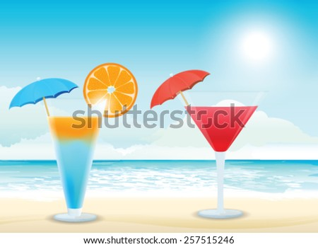 Tropical cocktail on the beach - stock vector