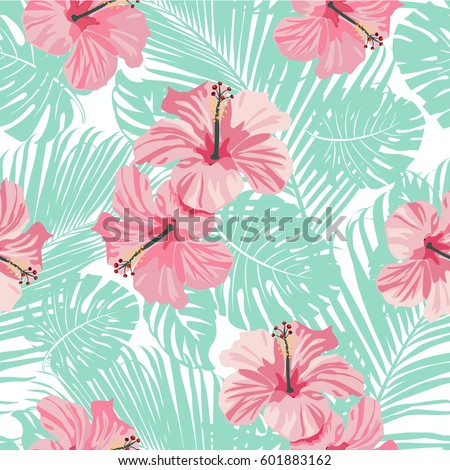 Tropical coral flowers leaves on black stock vector 2018 601883162 tropical coral flowers and leaves on black and white background seamless vector mightylinksfo