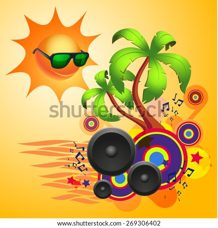 Tropical disco dance background with music and fantasy design elements. EPS10 vector. - stock vector