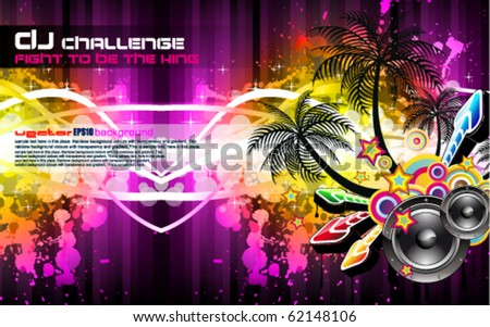 Tropical Disco Party Flyer with Palm and Rainbow Colours - stock vector