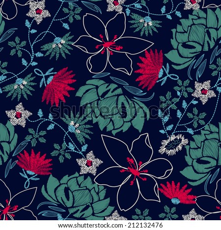Tropical embroidery lush floral design in a seamless pattern . - stock vector