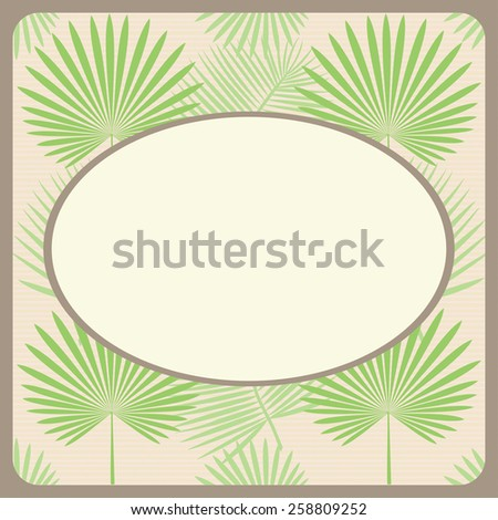 Tropical exotic background with palm leaves. Brown frame. Vector - stock vector