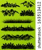 Tropical exotic jungle grass and plants detailed silhouettes landscape illustration collection background vector - stock vector