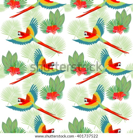 Tropical, exotic seamless pattern with palm leaves, exotic birds and flowers. Vector. - stock vector