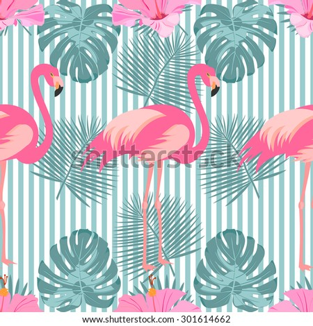 Tropical exotic seamless pattern with pink flamingos and palm leaves. Vector. - stock vector