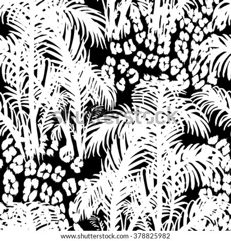 Tropical fashion seamless print with palm leaves and leopard spots. Jungle plant and animal skin. Texture mix for textile, wallpaper and background for different design. - stock vector