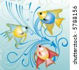 tropical fish - background, vector - stock vector