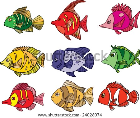 Tropical fish collection - vector illustration. - stock vector