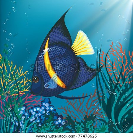 Tropical fish swimming underwater above water plant - stock vector