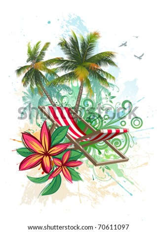 Tropical floral background - stock vector