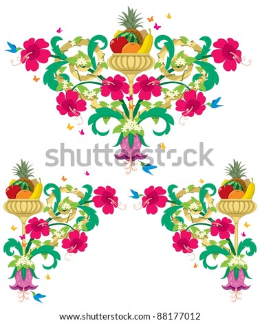 Tropical Floral Borders – Retro: Set of tropical floral design ornaments in retro style. No transparency and gradients used. - stock vector