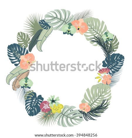 Tropical floral Wreath - stock vector