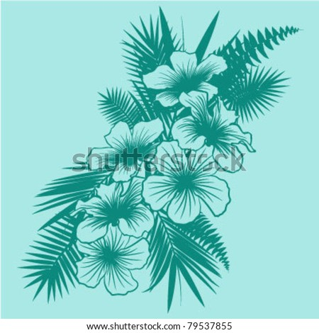 Tropical Flower Design - stock vector