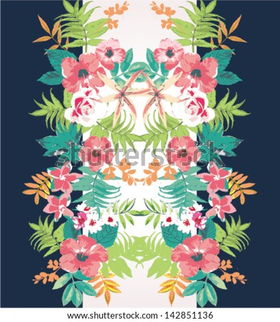 tropical flower summer holiday vector pattern background,mirror effect - stock vector