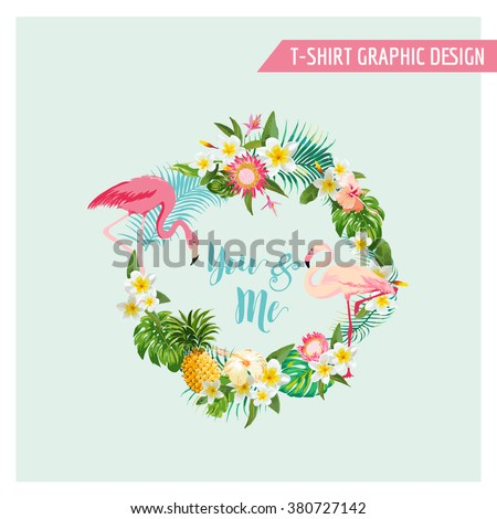 Tropical Flowers and Flamingo Wreath - for Wedding, Birthday, Baby Shower, Party, t-shirt graphic - in vector - stock vector