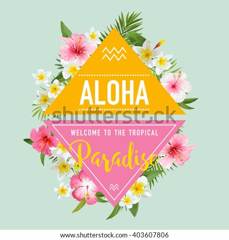 Tropical Flowers and Leaves Background. Summer Design. Vector. T-shirt Fashion Graphic. - stock vector