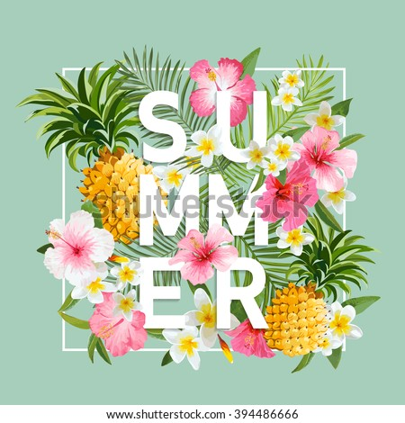 Tropical Flowers and Leaves Background. Summer Design. Vector. T-shirt Fashion Graphic. Exotic Background. - stock vector