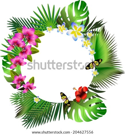 Tropical flowers and leaves. Floral design background. Bright color vibrant illustration, VECTOR - stock vector