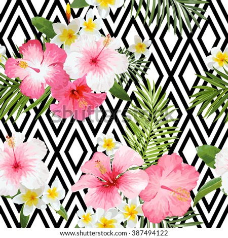 Tropical Flowers and Leaves Geometric Background - Vintage Seamless Pattern - in vector - stock vector