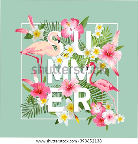 Tropical Flowers Background. Summer Design. Vector. Flamingo. T-shirt Fashion Graphic. Exotic.