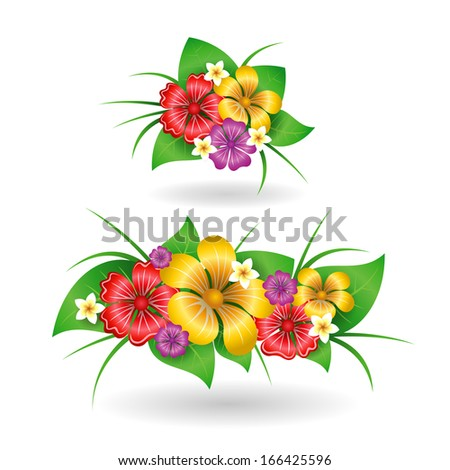 Tropical flowers decor elements isolated vector illustration - stock vector