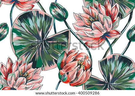 Tropical flowers, pink lotus, leaves, vector seamless floral pattern background - stock vector