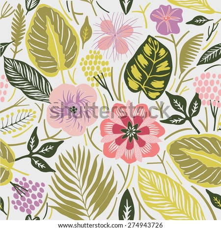 tropical flowers. seamless pattern