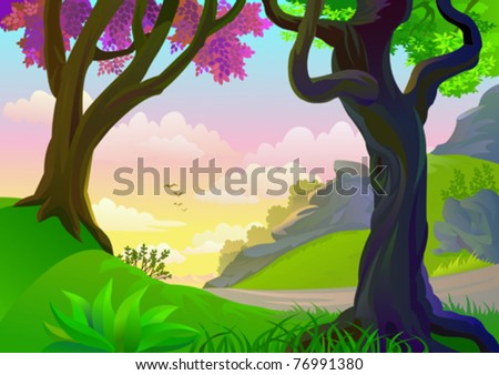TROPICAL  FOREST TREES AND LONELY ROAD - stock vector