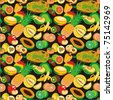Tropical Fruits Seamless Pattern. Vector background featuring tropical fruits. Tile it together and there is a seamless pattern to use as you wish. Fruits can also be used as individual icons. - stock vector