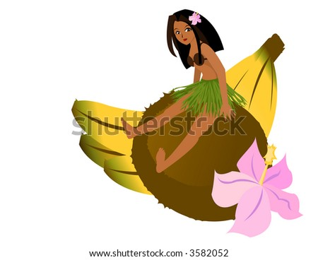 Tropical Girl Sitting on Coconut - stock vector